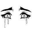 beautiful crying eyes sketch vector image vector image