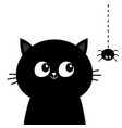 black cat head face silhouette looking at hanging vector image vector image