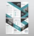 Blue triangle business trifold Leaflet Brochure vector image vector image