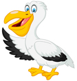 Cartoon pelican presenting with his wing vector image vector image