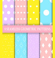 collection of 8 geometric patternspolka dot vector image vector image