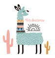 cute cartoon llama with in tribal style childish vector image