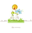 cute flowers background or greeting card vector image vector image