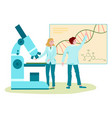 dna laboratory research scientists looking at vector image