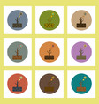 flat icons set of drought and dead tree concept on vector image vector image