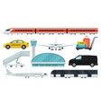 flat set of airport elements express train vector image vector image