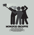 Groupfie Symbol A Group Selfie Using Monopod vector image