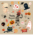 happy halloween clip art cartoon set vector image