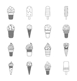 Ice cream set icons in outline style Big vector image