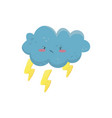 little angry cloud with yellow lightning bolts vector image