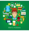 Man Hobby Icons Set with Elements of Mens Life vector image vector image