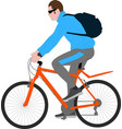 man ruding bicycle vector image vector image