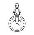 man with time clock vector image