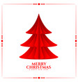 merry christmas tree in paper origami style vector image