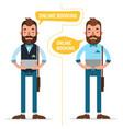 online booking man making online order vector image vector image