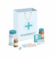 paper bag with medical equipmentpharmacy vector image
