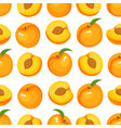 pattern with cartoon peaches isolated on vector image vector image