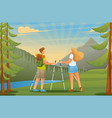 people admire beautiful forest nature flat 2d vector image