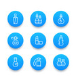 perfume and cosmetic icons linear pictograms vector image