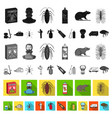 pest poison personnel and equipment flat icons vector image