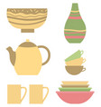 pottery handmade vase pot cups and bowls set vector image vector image