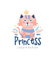 princess logo design emblem with cute cat can be vector image