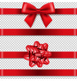 red bows collection isolated transparent vector image vector image