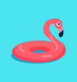 rubber flamingo ring isolated on blue background vector image vector image