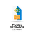 san marino mobile operator sim card with flag vector image vector image