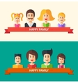 set isolated flat design happy family icon vector image vector image