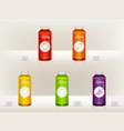 set of realistic juice bottles jars glass vector image