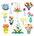 set of vintage floral bouquet garden vector image vector image
