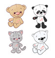 set panda cub kitten teddy bear hare hand drawing vector image vector image