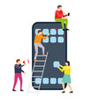 small people creating interface on smartphone vector image vector image