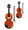 Smiling cartoon violin character with bow vector image