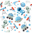 space seamless pattern astronaut alien ufo ship vector image