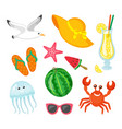 summer journey elements seafood and accessories vector image vector image