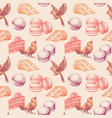 sweets seamless pattern cake macarons and cute vector image