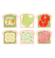 toasted bread avocado red fish egg banana tomato vector image