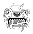 typewriter with octopus coloring book vector image vector image