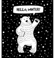 White bear with snow and sign hello winter vector image vector image