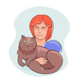 woman hugs together with lovely domestic cat vector image