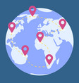 world map earth planet path for traveling vector image