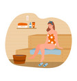 young female character is relaxing in hot sauna vector image