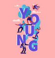 young hipster people skating skateboard poster vector image vector image