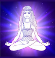 young woman sitting in pose lotus vector image