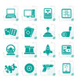 stylized computer games tools and icons vector image