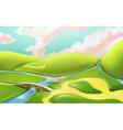 3d cartoon nature landscape with bridge vector image