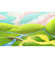 3d cartoon nature landscape with bridge with vector image vector image