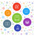 7 library icons vector image vector image